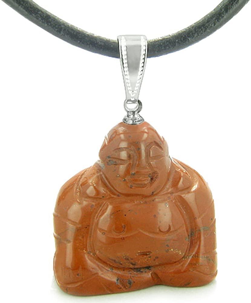 Happy Sitting Buddha Amulet Red Jasper Gemstone Believe Powers Leather Pendant Necklace