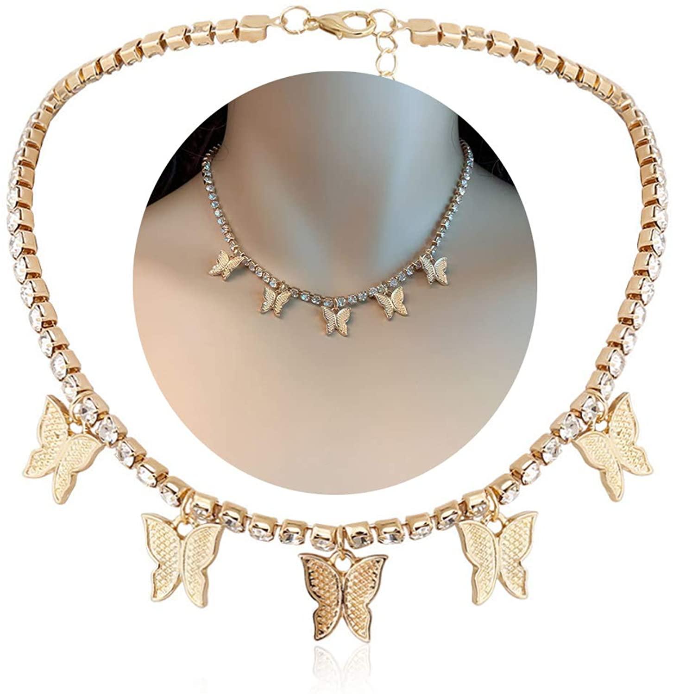 ZZ ZINFANDEL Exquisite Butterfly Choker Necklace,Charm Star Butterfly Choker Crystal Zircon Butterfly Necklace for Women Teen Girls Fashion Party Jewelry