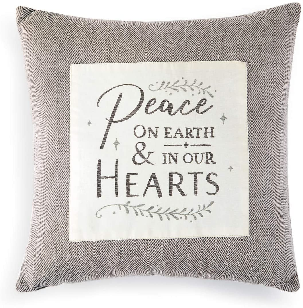 DEMDACO Peace On Earth Soft Grey 16 x 16 Polyester Fabric Holiday Throw Pillow