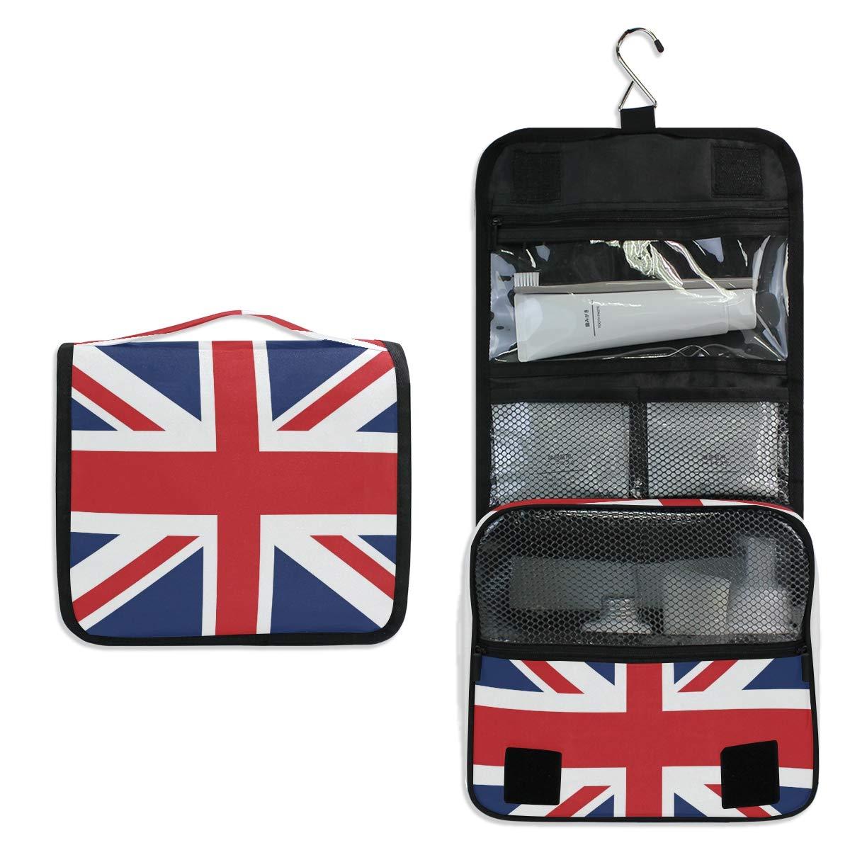 XLING Toiletry Bag British Union Jack Flag Stripe Wash Gargle Bag Travel Portable Cosmetic Makeup Brush Case with Hanging Hook Organizer for Women Men
