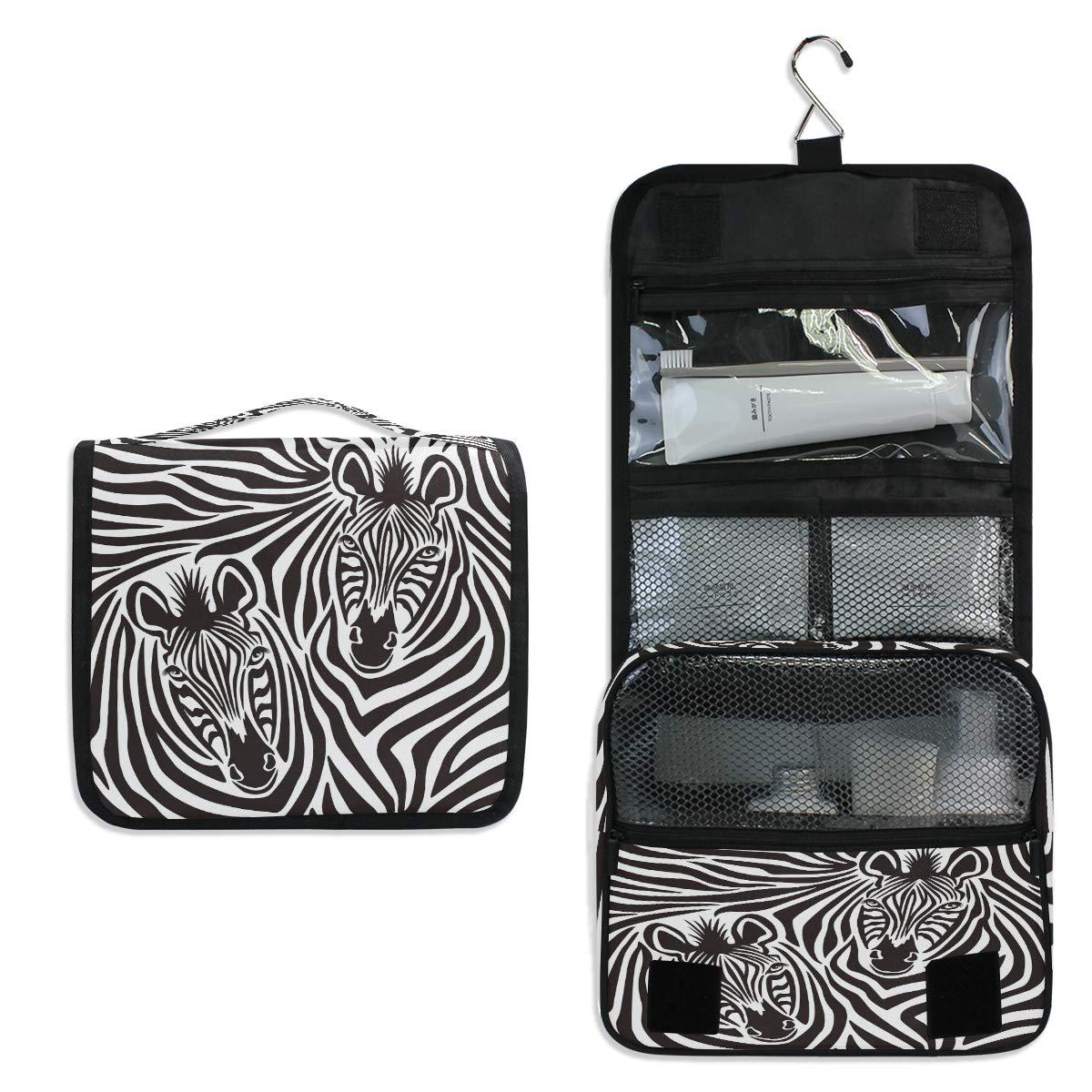 CCDMJ Hanging Toiletry Bag Animal Zebra Head Print Cosmetics Makeup Bags with Hook Portable Multifunction Travel bag Wash Bathroom Organizer for Women Girls