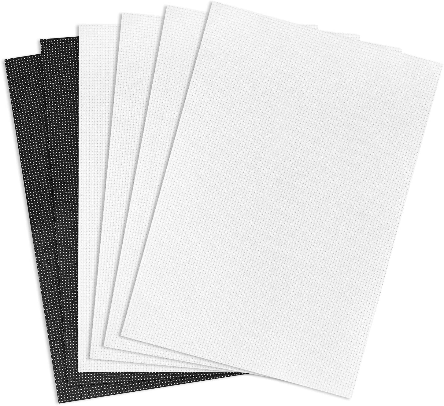 Maydear Cross Stitch Cloth 11 Count Cotton Aida Fabric Needlework DIY 6 Pieces 12×18(inch)-White(4pcs),Black(2pcs)