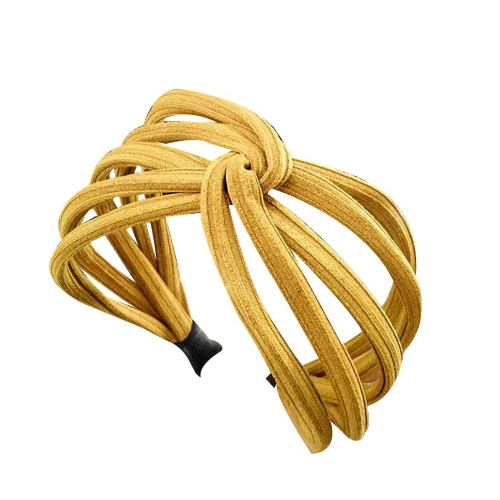 Hair Ornaments Sweet Women Twist Hair Hoop Band Solid Color Wide Headwrap Headband Accessory for Home Party Wedding - Yellow