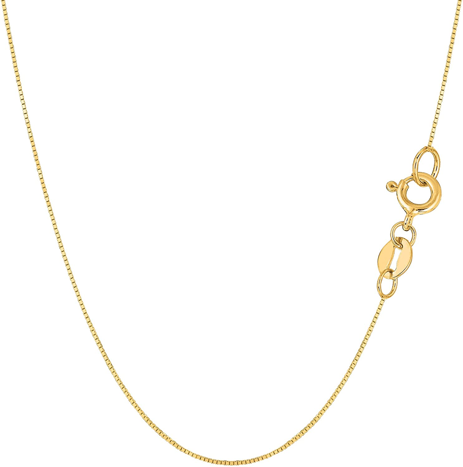 14k Yellow Solid Gold Mirror Box Chain Necklace, 0.6mm