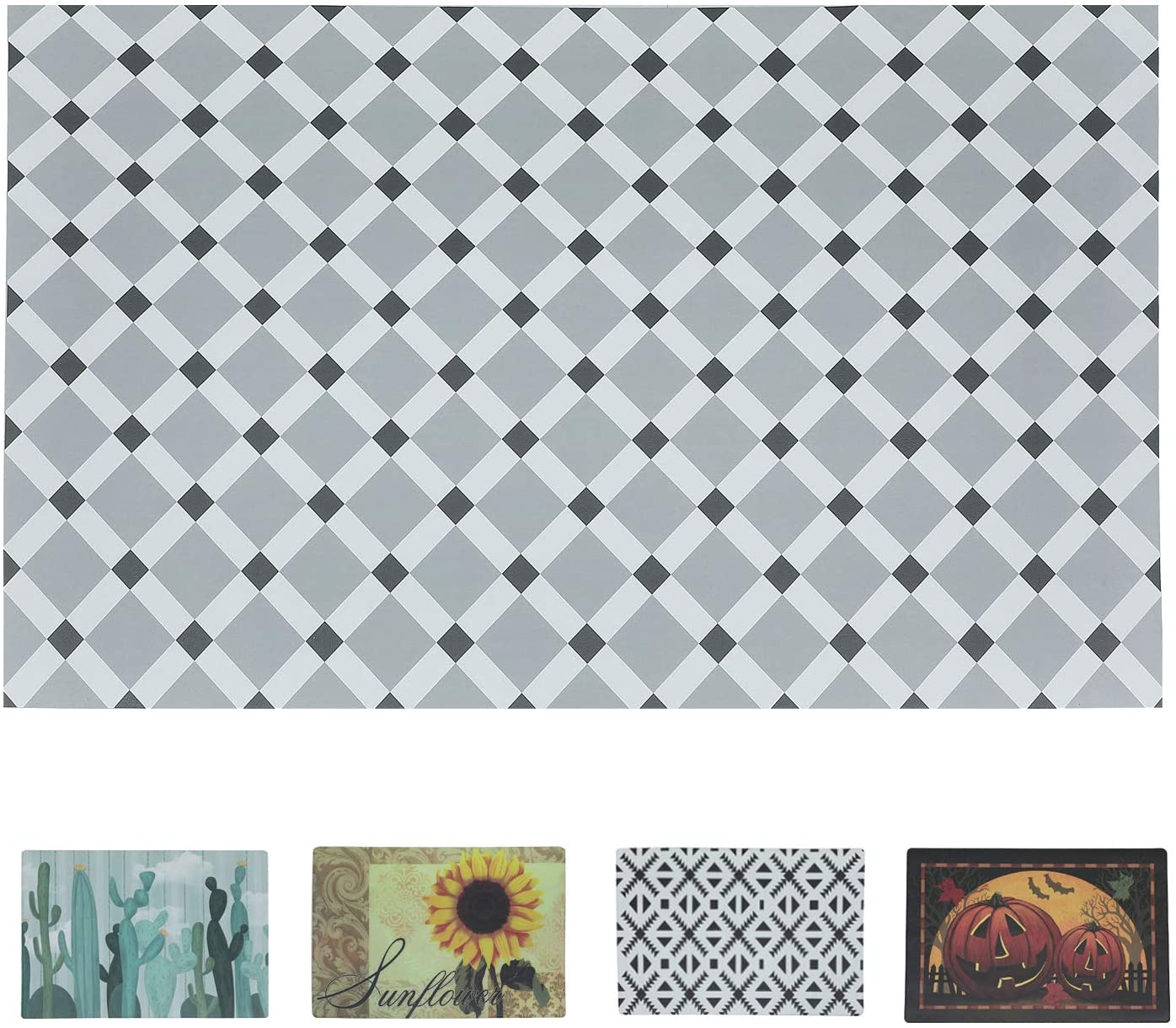 Comfort Mat Waterproof and Non-Slip Geometric Pattern Color Printing Suitable for Kitchen,Living Room,Bedroom,Doorway (3ft5ft, Grey-White)