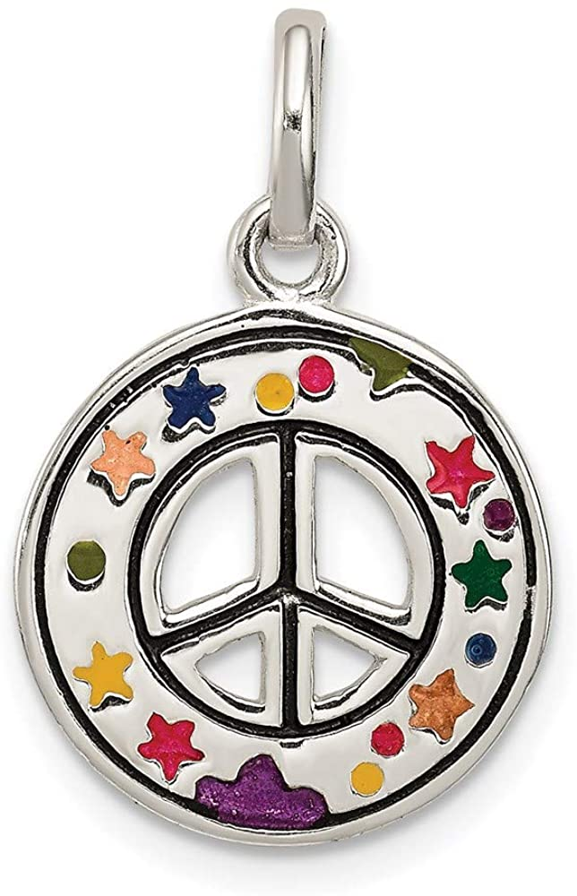 925 Sterling Silver Enameled Peace Sign Pendant Charm Necklace Fine Jewelry For Women Gifts For Her
