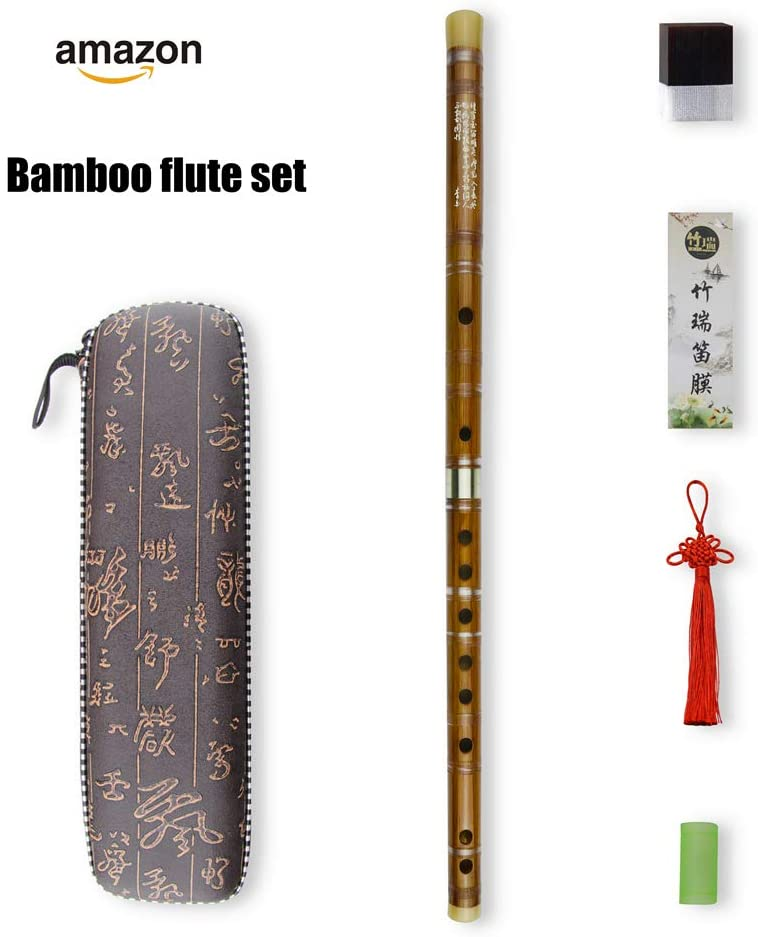 E Key Dizi Bitter Bamboo Flute for Beginners with Free Membrane & Glue & Protector Set Traditional Chinese Instrument(Key of E/Bitter Bamboo)