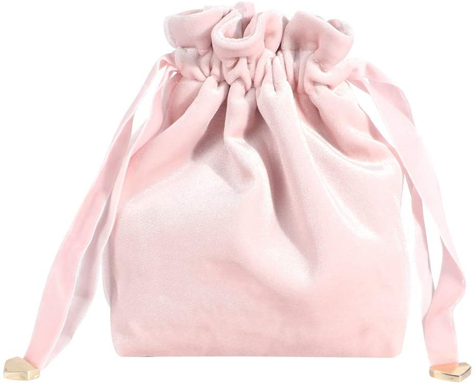 Storage Bag Household Portable Velvet Makeup Cosmetic Bag for Outdoor Travel(Pink 2)
