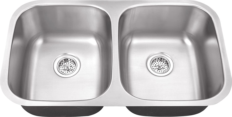802XUL 32-in x 18-in x 10-in 16-Gauge Stainless Steel 50/50 Double Bowl Undermount Stainless Steel Sink