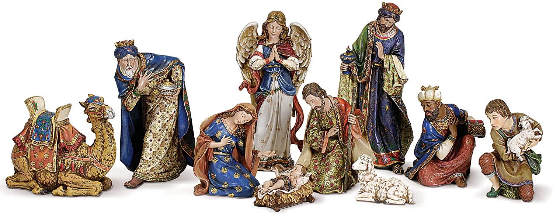 Joseph's Studio by Roman - 10-Piece Nativity Set, Includes Holy Family, Three Kings, Angel, Shepherd, Sheep and Camel, 4