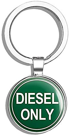 HJ Media Round Green Diesel Only (Logo go Green Oil Gas Earth) Metal Round Metal Key Chain Keychain Ring
