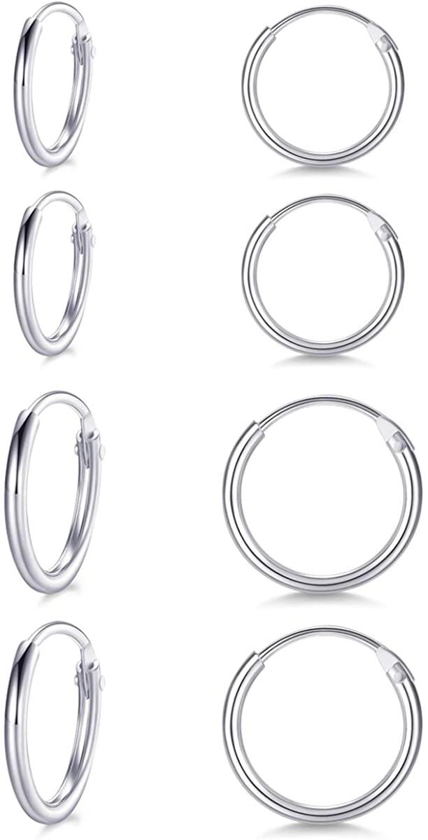 Sterling Silver Small Cartilage Hoop Earrings for Men & Women, 4 Pairs of Hypoallergenic Earrings