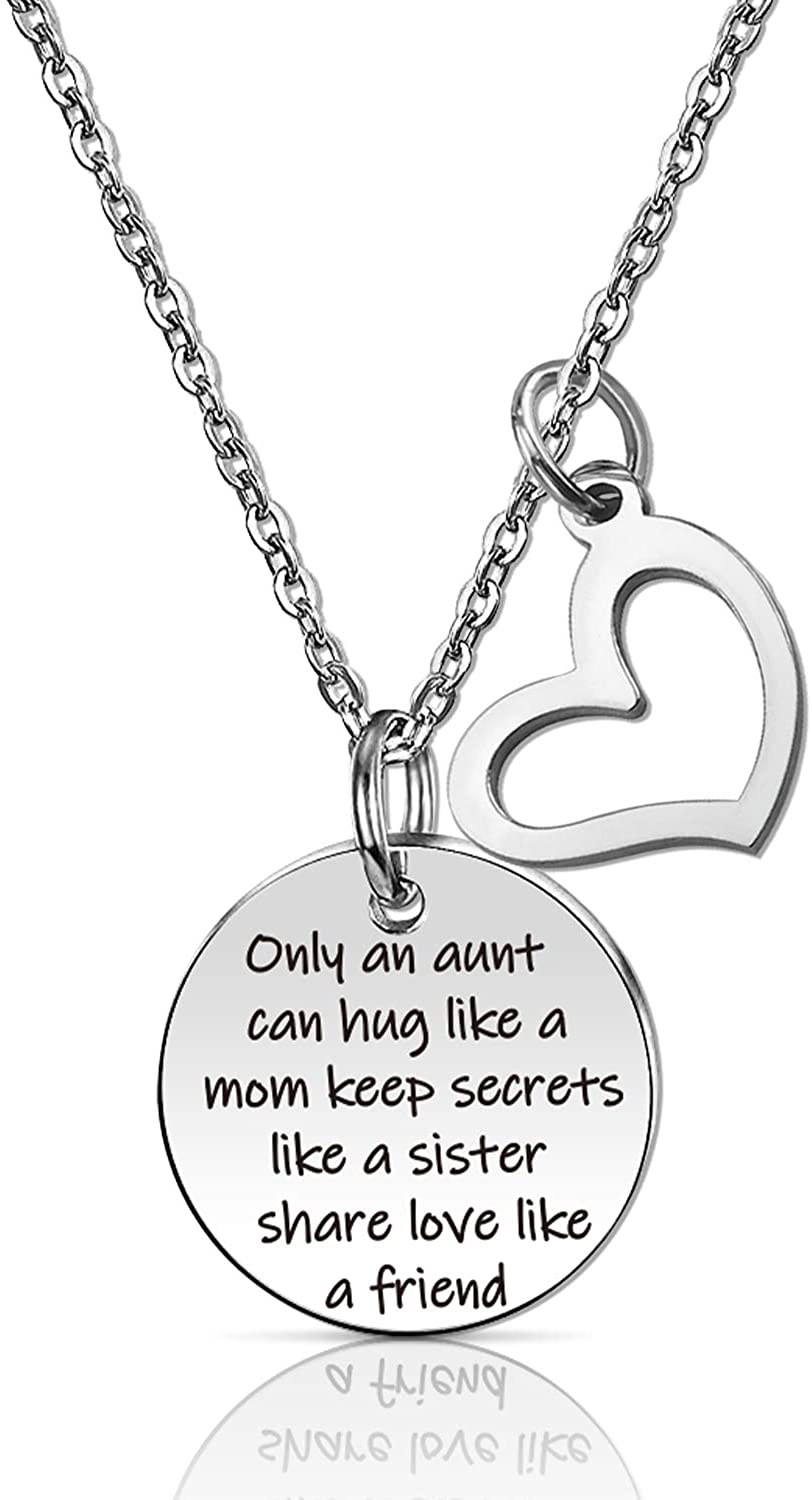 SIDIMELO Only an Aunt Can Hug Like A Mom Keep Secrets Like A Sister Share Love Like A Friend Necklaces Jewelry Gifts for Aunt
