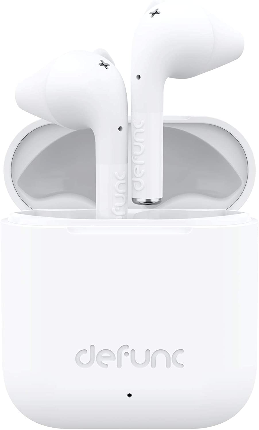 Defunc True GO Slim Bluetooth 5.0 Wireless Earbuds with Wireless Charging Case IPX4 Waterproof TWS Stereo Headphones in Ear Built in Mic USB-C Charging 22 Hour Battery Life (White)