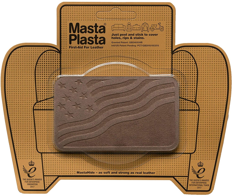 MastaPlasta Self-Adhesive Premium Suede Repair Patch, Flag, Brown - 4 x 2.4 Inch - First-aid for Sofas, car Seats & More