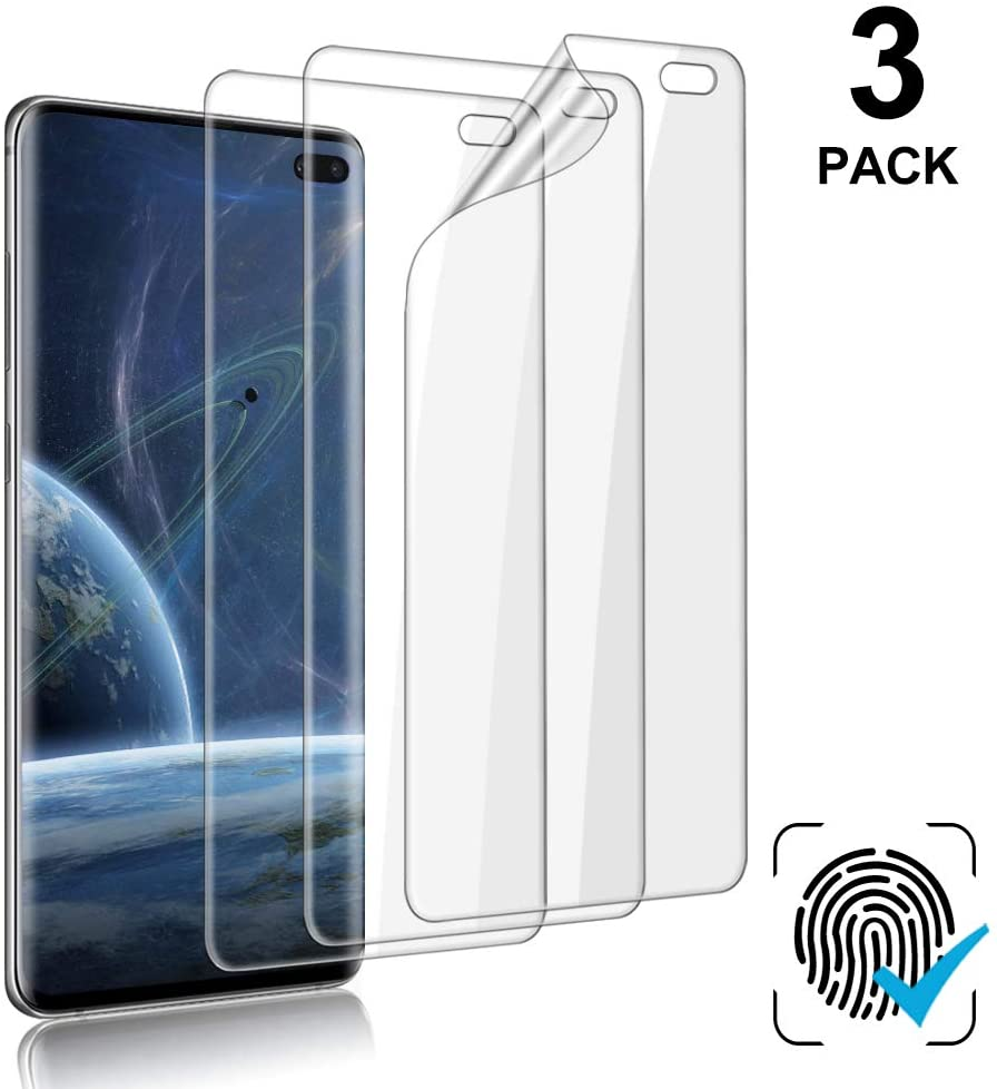 [3-Pack] Galaxy S10 Plus Screen Protector, Compatible Fingerprint, Self Healing, Anti-Bubble,Ultra-thin Clear HD TPU Protective Film, For Samsung Galaxy S10 Plus / S10+