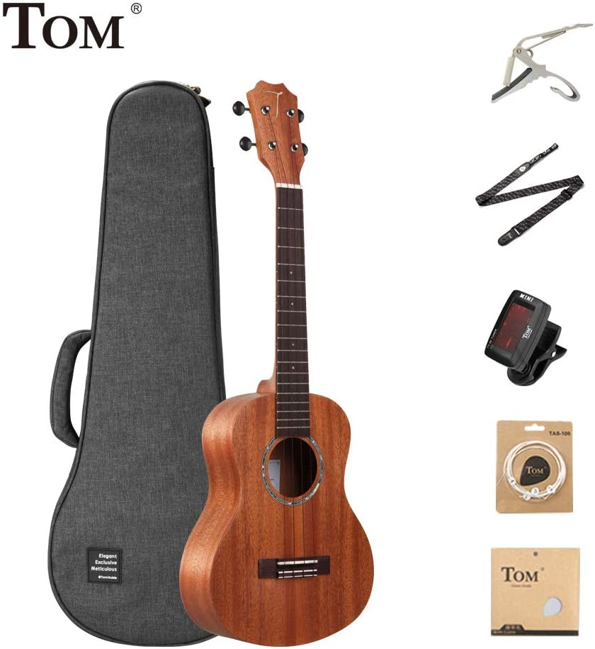 TOM Concert 23 Inch Ukulele for Beginners   Handcrafted Mahogany Hawaiian Mini Guitar with Solid Top, Premium Gig Bag, Worth Strings, Capo, LCD Tuner, Strap (TUC-230)