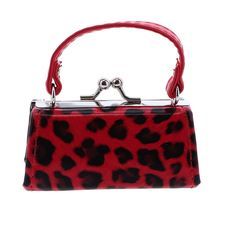 Leopard Colorful Lipstick Case with Handle Mini Purse - Red