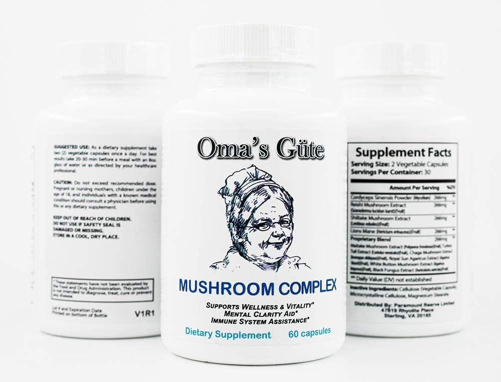 Oma's Güte - Mushroom 10X Complex - Immune Support - Lions Mane, Chaga, Reishi, Turkey Tail, Cordyceps, Maitake, Shiitake - 60 Capsules