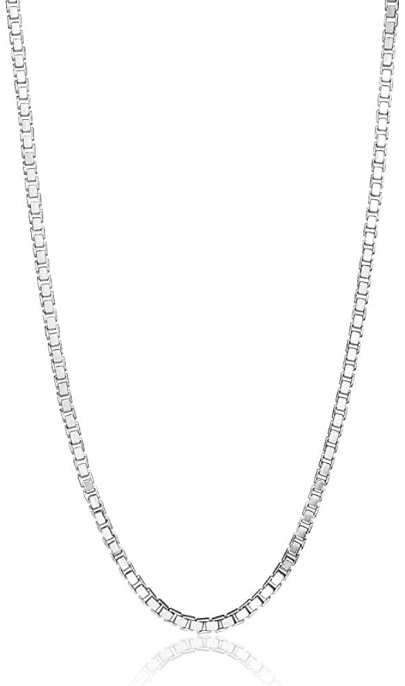 Hoops & Loops Sterling Silver 1.3mm Box Chain Dainty Necklace, 16-30 Inches