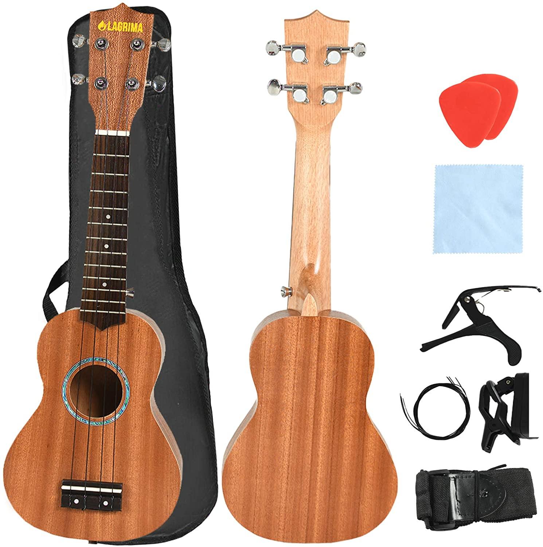 LAGRIMA LGA-320 23 Inch Concert Ukulele Beginner Mahogany Ukulele Set with Tuner, Picks, Strap, Strings, Cotton Cloth, Guitar Capo