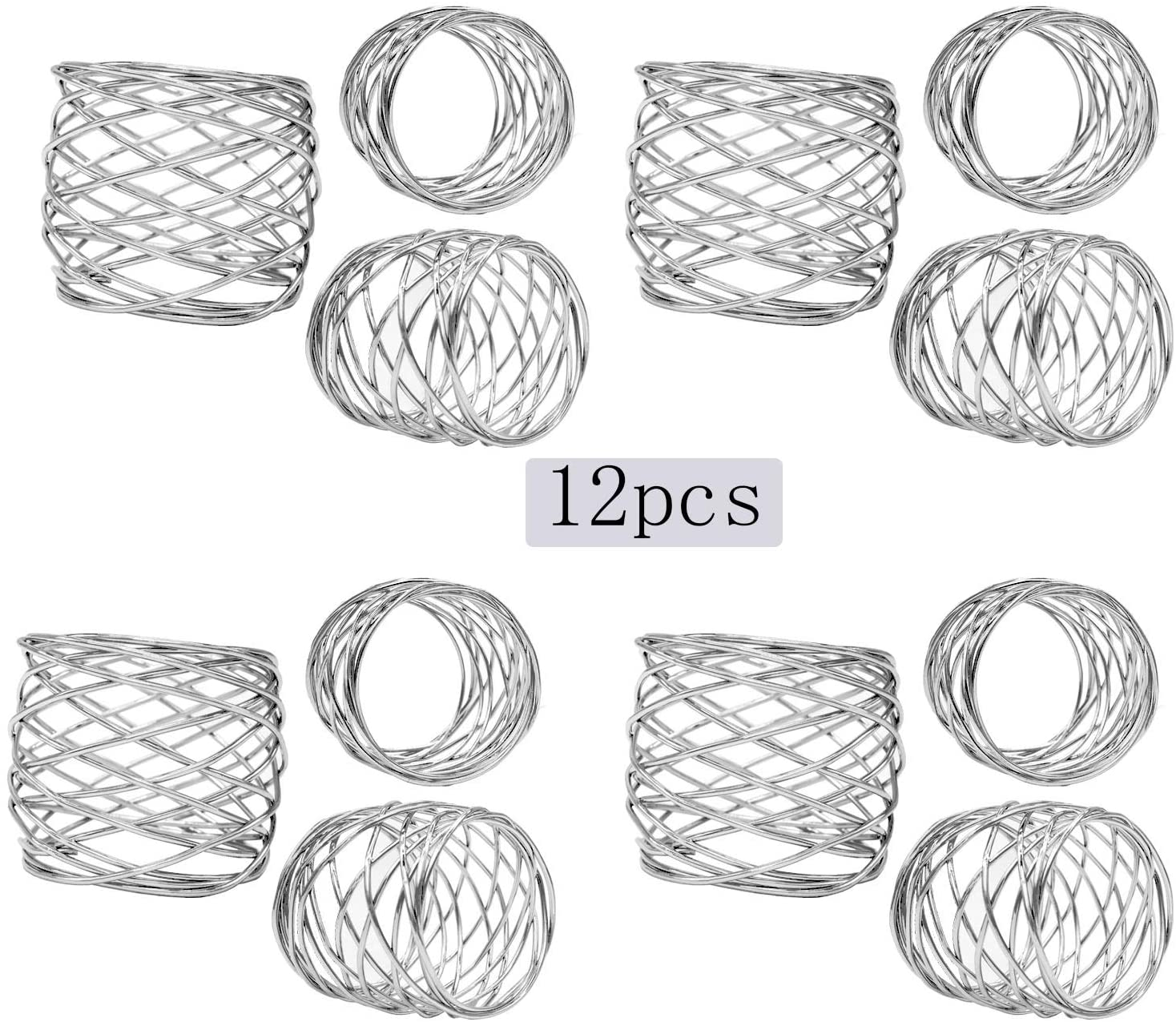 ZeeDix Set of 12 Sliver Round Mesh Napkin Rings for Dinning Table Setting-Handmade Napkin Holder Rings for Holiday Party,Wedding Receptions,Christmas,Thanksgiving and Home Kitchen for Casual or Formal
