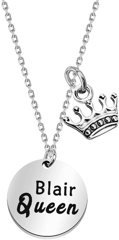 WSNANG Gossip Girl Inspired Gift Blair Queen Necklace Blair Queen B Jewelry for Gossip Girl TV Show Fans
