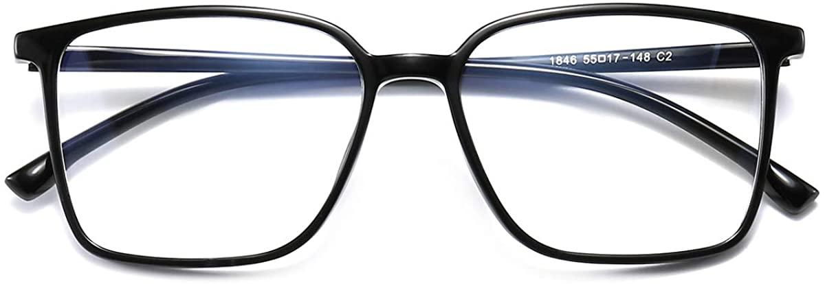Dollger Blue Light Blocking Glasses Women Men Square Nerd Eyeglasses Frame Lightweight Computer Glasses