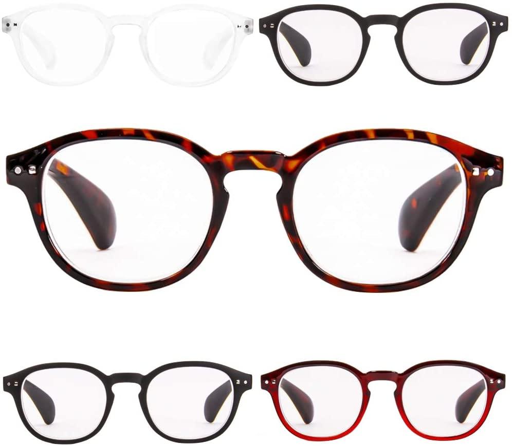 Reading Glasses 5 Pack Anti Eye Eyestrain Unisex(Men/Women) Glasses with Spring Hinges +4.0