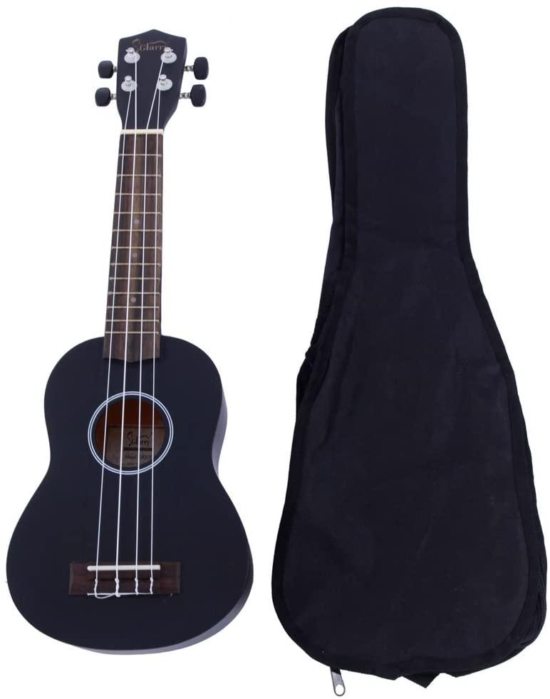 Festnight 21 Inch Soprano Ukulele Rosewood Fingerboard Basswood Black Small Guitar with Carrying Bag Musical Instrument for Beginner, Kid, Starter, Amateur