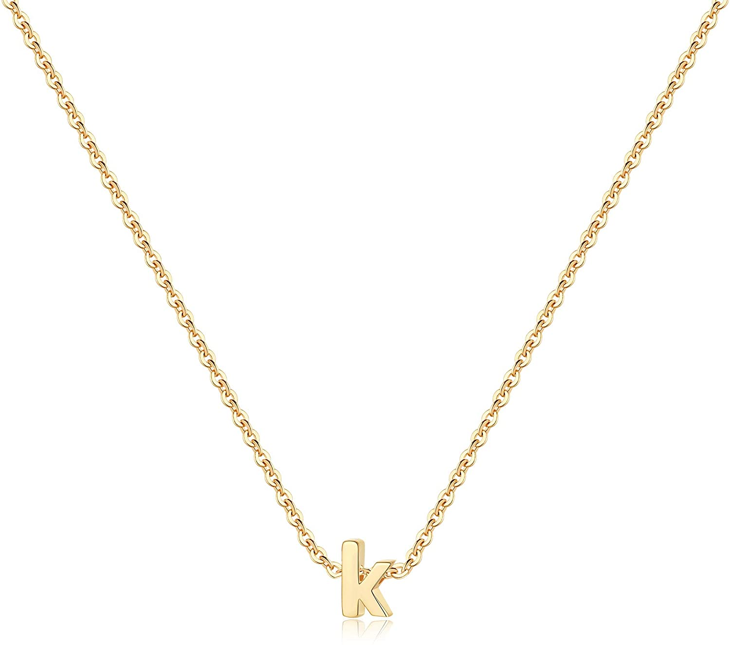 Dainty Tiny Initial Necklace, 14K Gold Plated Lowercase Letter Necklace Small Initial Pendant Necklaces for Women Girls Personalized Minimalist Delicate Monogram Children Kids Alphabet Necklace