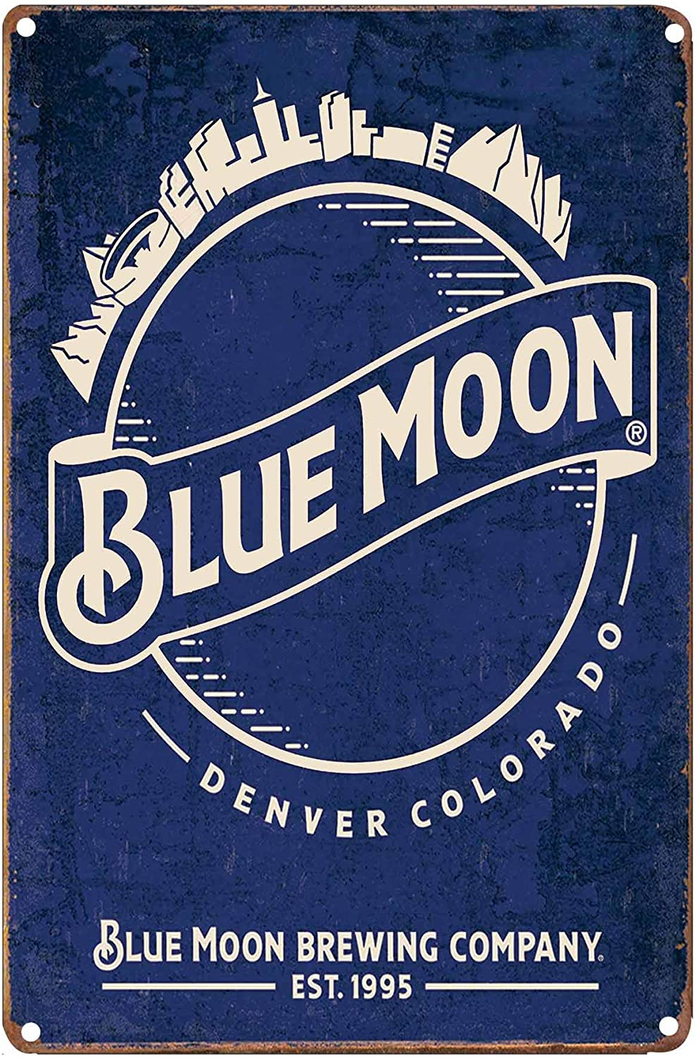LIPTOR Blue Moon Denver Colorado Vintage Tin Sign Coffee Bar Wall Decor Art Poster Beer Signs for Man Caves 8X12Inch