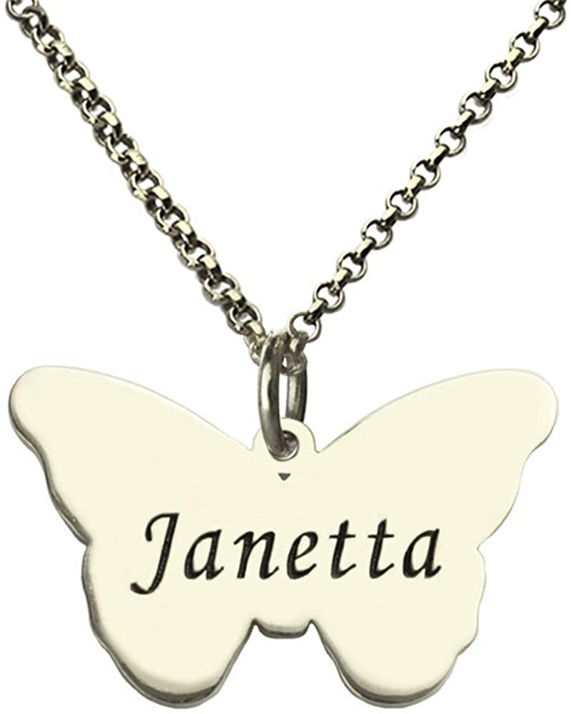 Engraved Butterfly Pendant Necklace Name Butterfly Necklace Personalized Baptism Necklace Enjoy Freedom (Silver 20