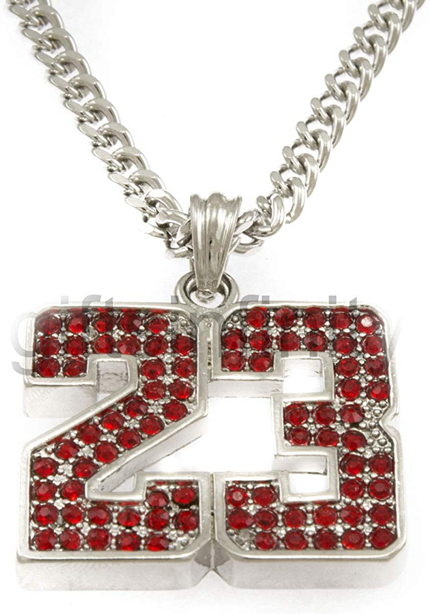 Hot Celebrity Hip-Hop Silver Tone 23 Basketball Red Pendant Necklace Free 24