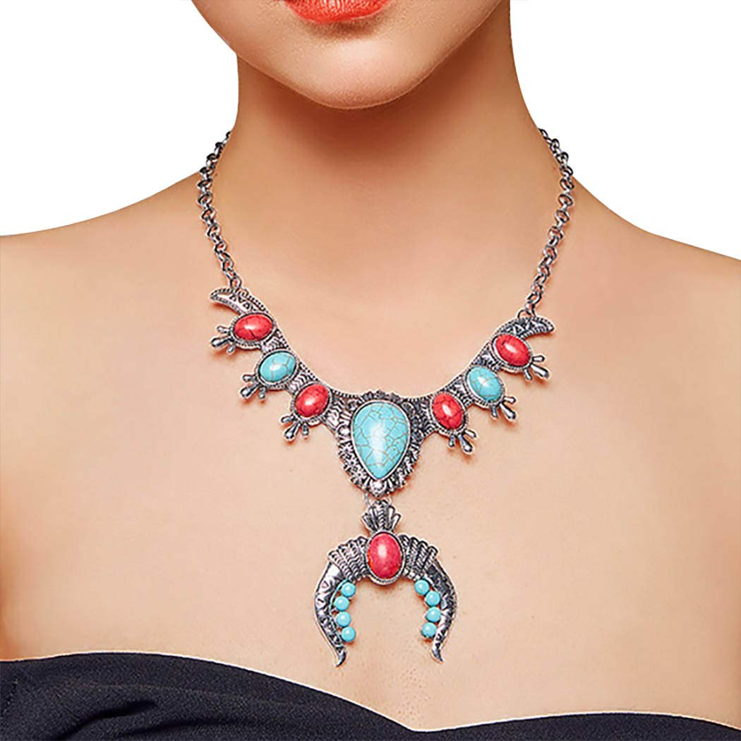 Sethain Boho Turquoise Pendant Necklace Silver Flower Carving Bead Chain Statement Necklaces Jewelry Accessories for Women and Girls