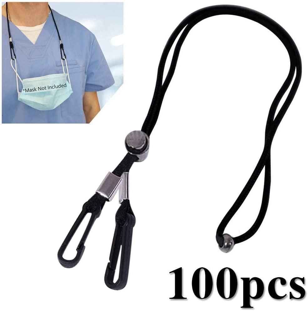 Adjustable Length Necklace Lanyard - Handy & Convenient Safety Face Holder & Hanger - Comfortable Around The Neck Rest & Ear Saver(Black02,100PC)
