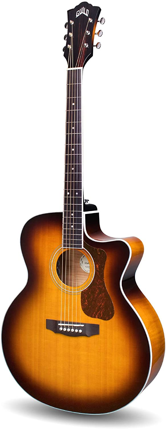 Guild Guitars F-250CE Deluxe Maple ATB Acoustic Guitar, Antique Burst Jumbo Archback Deluxe Solid Top, Westerly Collection