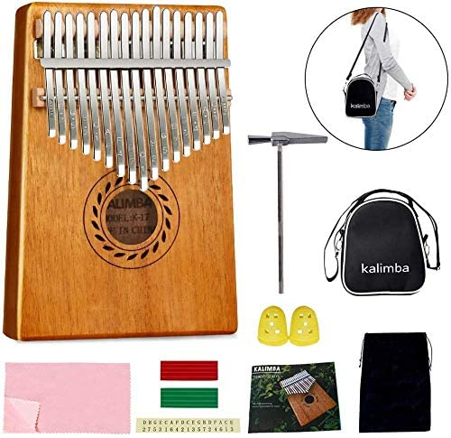 POMAIKAI Kalimba 17 Keys, Kalimba Thumb Piano for Kids Adult Beginners with Tuning Hammer and Study Instruction