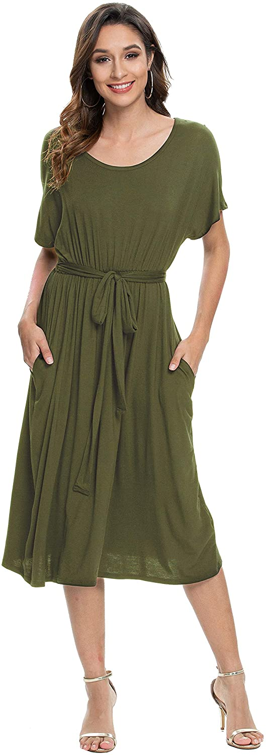PRIMODA Women Short Sleeves Round Neck Midi Dress Casual Loose Swing Dress with Belt