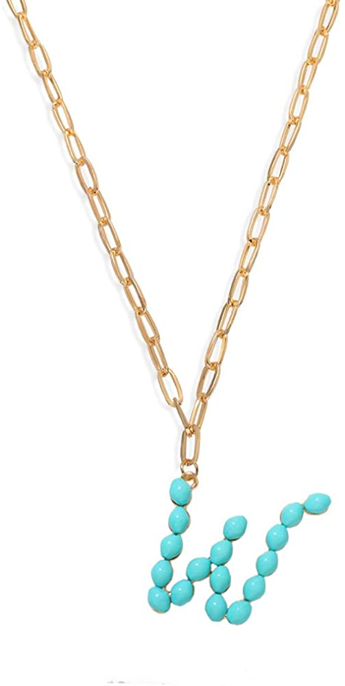 Dainty Turquoise Pearl Big Initial Chain Pendant Necklace for Women