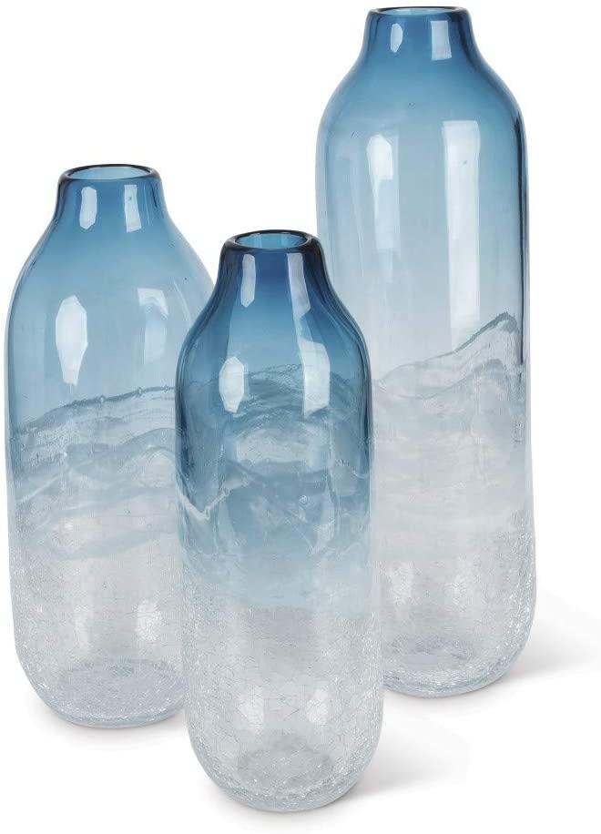 Diva At Home Set of 3 Indigo Blue and Milky White Indoor Artisanal Tall Art Glass Vase 17.7