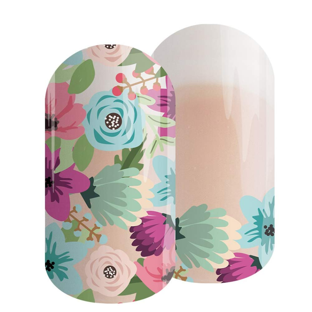 GARDEN PARTY Jamberry Lacquer Strips | Quick & Easy Nail Decal Design | Fun & Trendy Nail Art Stickers | Perfect Gift for DIY Easy Nail Art (Garden Party)