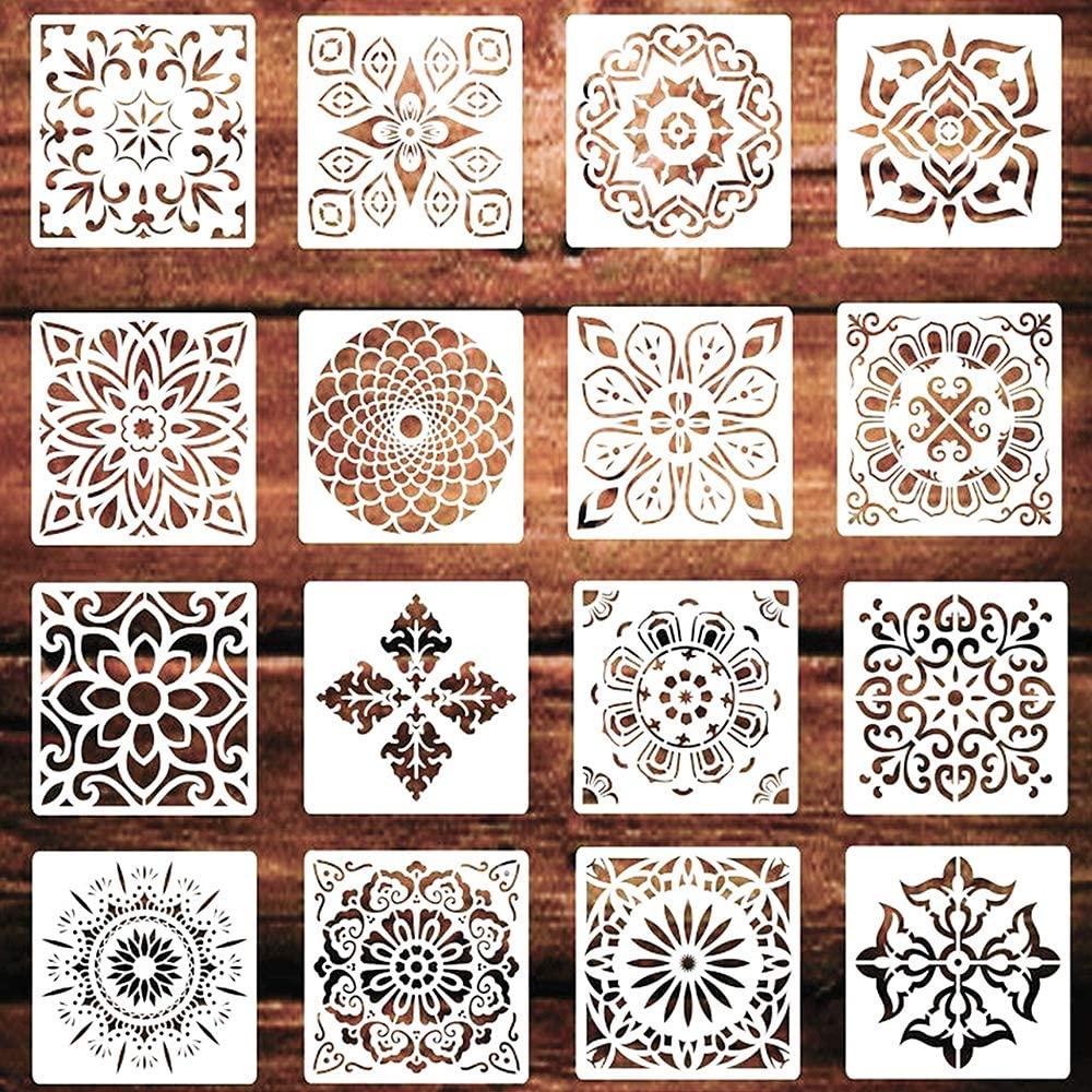 BoomYou 16 PCS Mandala Reusable Template Mandala Dot Painting Tools Painting Drawing Stencils Laser Cut Geometric Stencil for DIY Decor Painting on Wood Airbrush Rocks Walls Art 6x6 Inch - ZX1