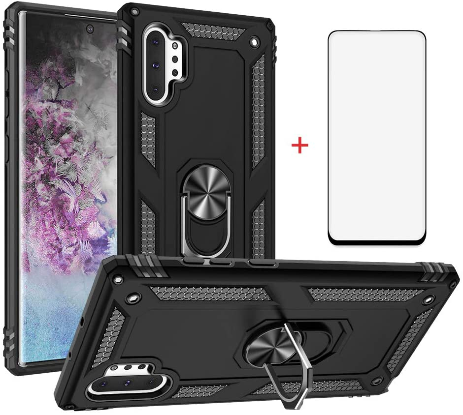 Phone Case for Samsung Galaxy Note 10 Plus Pro Edge Cases with Tempered Glass Screen Protector Ring Holder Stand Glaxay Note10plus Note10+ Note10 Ten 10+ + 10pluscases 5G Shockproof Back Cover Black