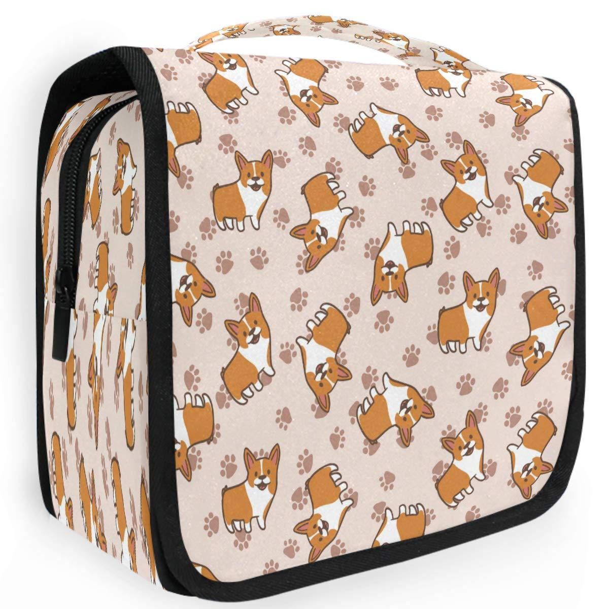 Olinyou Cartoon Corgis Paw Dog Cute Animal Travel Toiletry Cosmetic Bag Hanging Shower Makeup Bag Pouch Portable Train Tote Case Organizer Storage For Women Girls