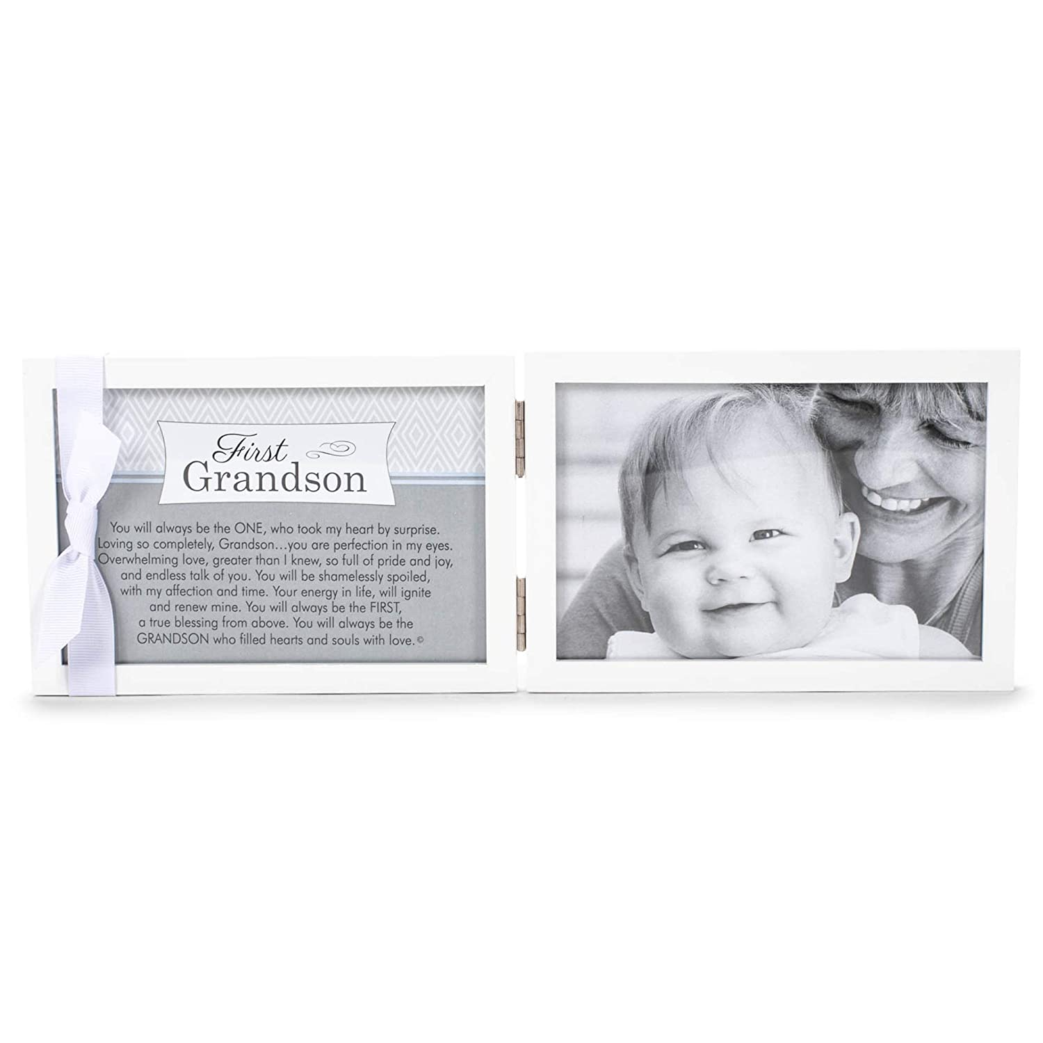 """The Grandparent Gift Company- 4"""" x 6"""" White Double Hinged Table or Shelf Frame with """"Grandson"""" Sentiment- Holds Ultrasound and Photographs"""