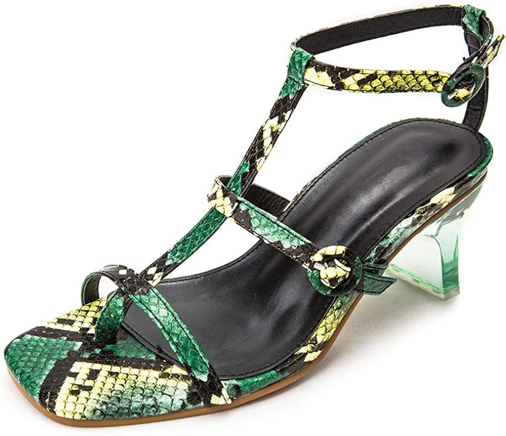 Enelauge Women's Snake Print Open Square Toe Clear Block Gladiator Heeled Sandals