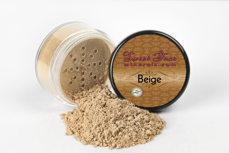 BEIGE FOUNDATION Mineral Makeup (20 gram Jar) Matte Loose Powder Bare Face Cosmetics Full Coverage Long Lasting All Skin Types SPF 18
