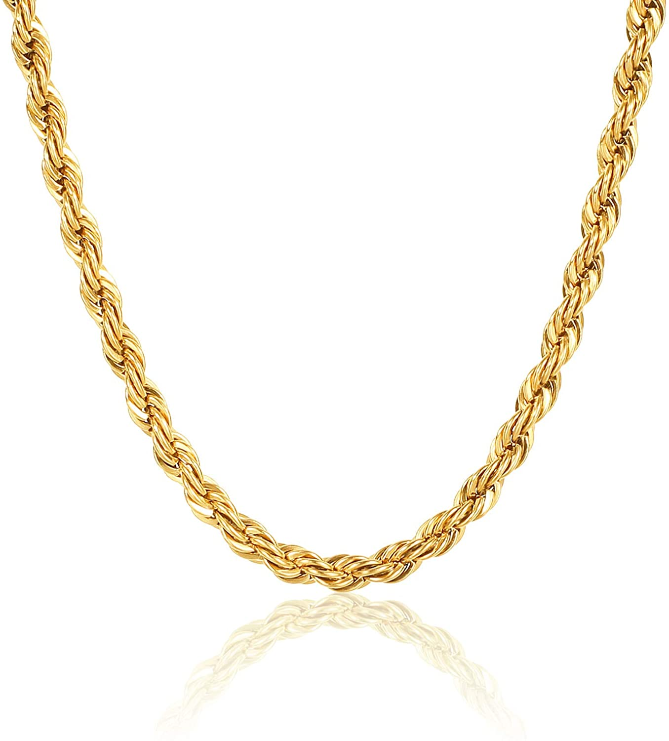 WHIPPY 18k Gold Plated Rope Chain Stainless Steel Twist Rope Necklaces for Men Women 2.5mm - 16, 18, 20, 22, 24 Inches