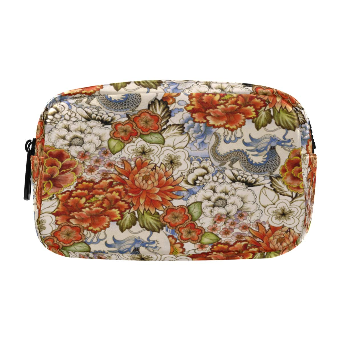 ALAZA Vintage Asian Traditional Japanese Flowers Cosmetic Bag Leather Pencil Case Waterproof Portable Travel Makeup Pouch with Zipper for Women Girls Teens